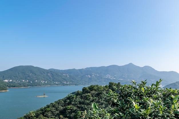 青い空の下、湖は山と森に囲まれています