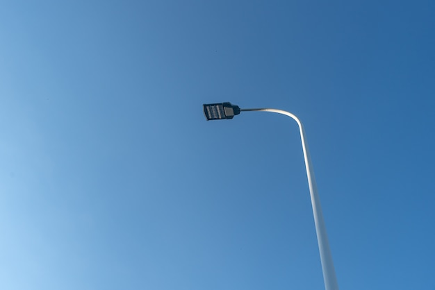 青い空の下、通りには街灯があり、鳥が止まっています。