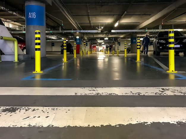 Underground garage or modern parking lot with large number of cars