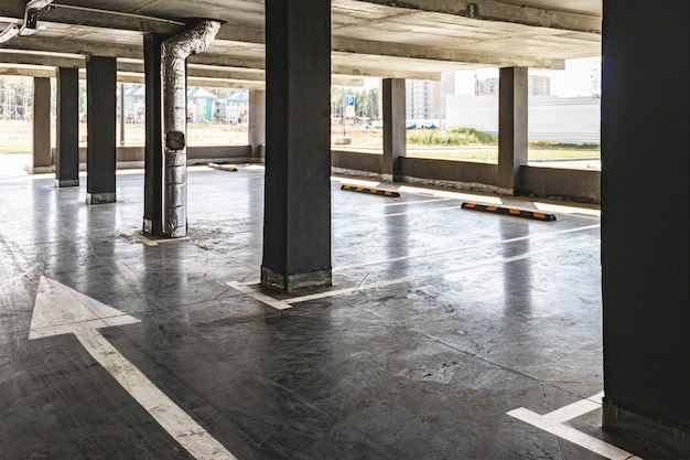 Underground parking located under the residential building. storage place for personal transport for city residents.