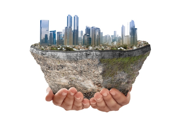 Underground soil layer of cross-section earth with cityscapes on the top isolated over white background