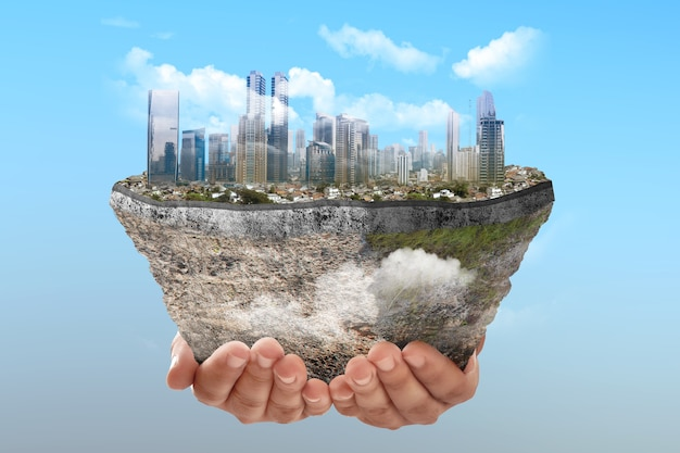 Underground soil layer of cross-section earth with cityscapes on the top with colored background