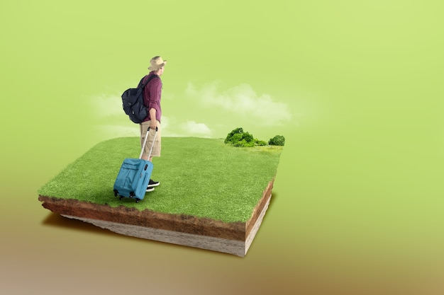 Underground soil layer of cross-section earth with rear view of an asian man with backpack and suitcase on the meadow