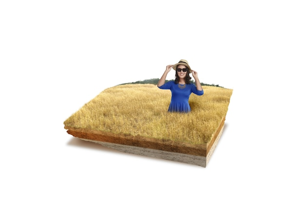 サバンナに帽子とサングラスをかけたアジアの女性と断面地球の地下土壌層