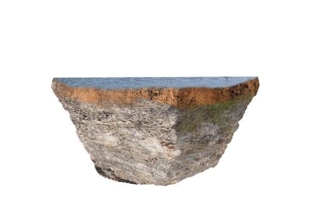 白い背景の上に分離された上部にコンクリートと断面地球の地下土壌層