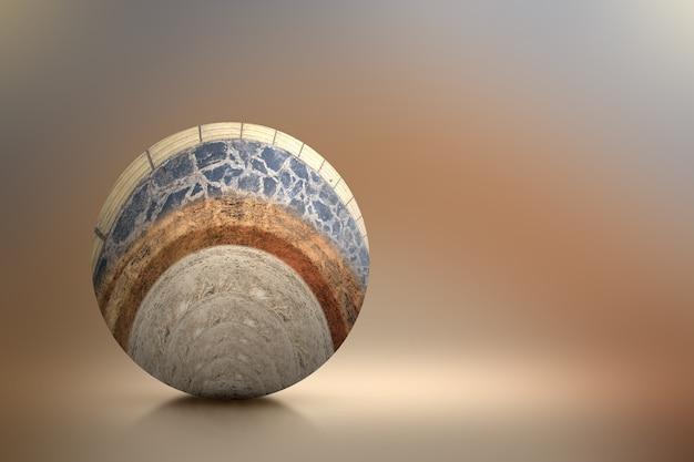 断面地球の地下土壌層、上部にコンクリート、色付きの背景