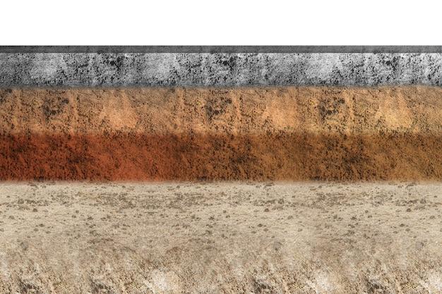白い背景の上部にコンクリートと断面地球の地下土壌層