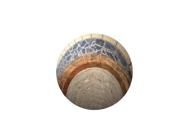 白い背景の上部にコンクリートが付いている断面地球の地下土壌層