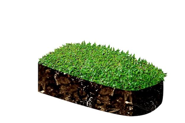 上部に牧草地がある断面地球の地下土壌層。環境コンセプト