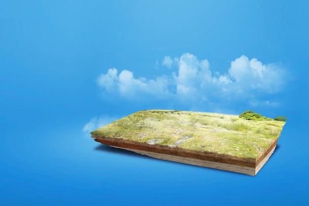 色付きの背景で上部に牧草地がある断面地球の地下土壌層