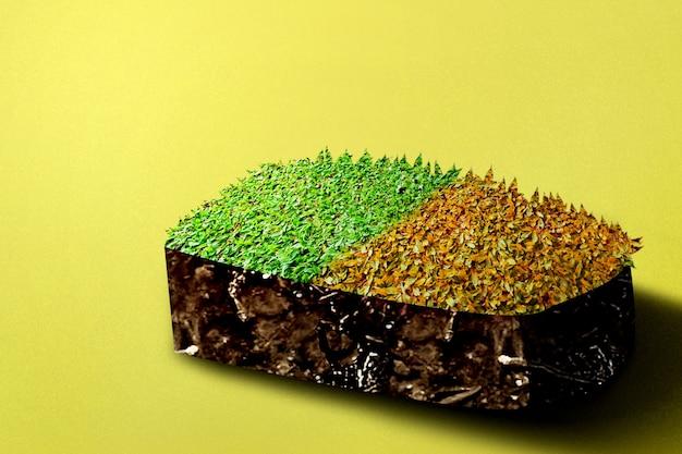 上部に異なる草がある牧草地のある断面地球の地下土壌層。環境コンセプト