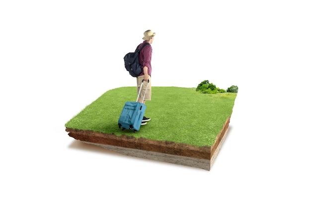 牧草地にバックパックとスーツケースを持ったアジア人男性の背面図と断面地球の地下土壌層