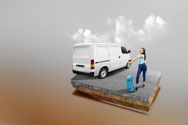 車と色付きの背景のスーツケースを持って立っているアジアの女性と通りが上にある断面地球の地下土壌層
