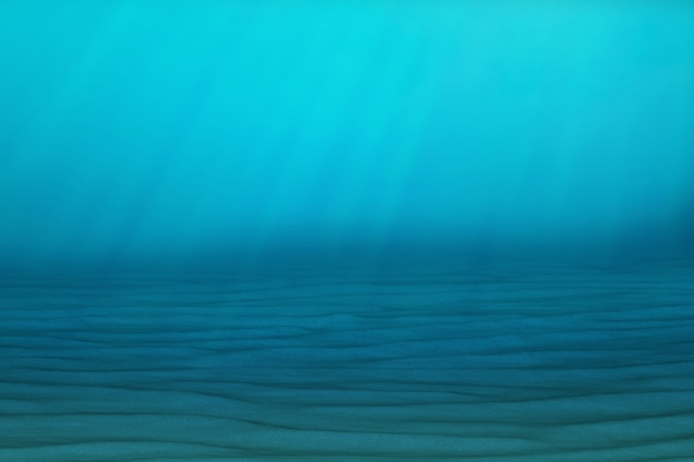 Underwater blue background in sea, ocean, with volume light. 3d rendering