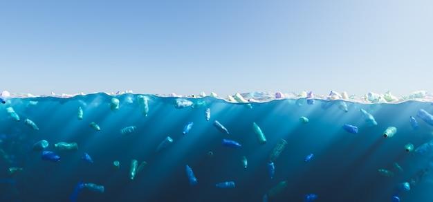 海中と水面に浮かぶ多くのボトルの水中イラスト