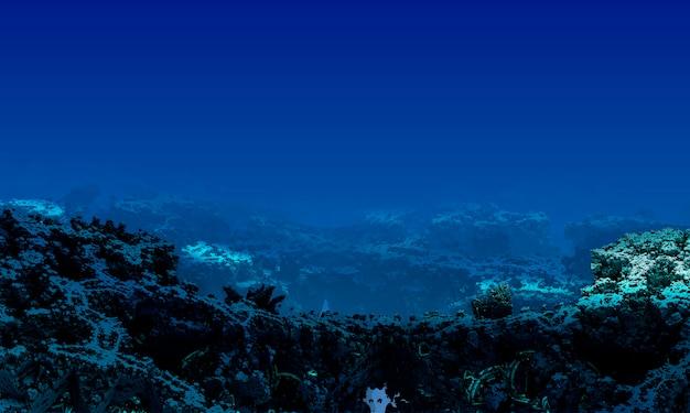 Подводный пейзаж с кораллами и свободным пространством компьютерная 3d-иллюстрация.