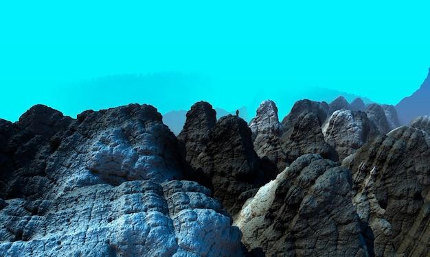 Подводный пейзаж с гранитными скалами и свободным пространством компьютерная 3d-иллюстрация.