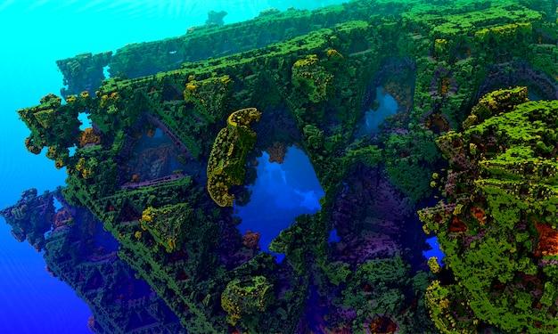 Подводный пейзаж со скалами, покрытыми водорослями и кораллами. компьютерная 3d-рендеринг.