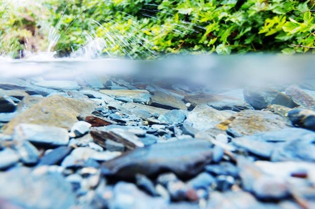 山の小川の水中シーン。アラスカ。
