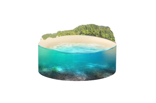 Underwater view of blue water on the beach with hills view. environment concept