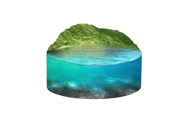 Underwater view of blue water on the lake with hills view. environment concept