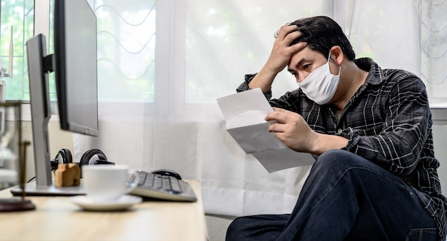 Unemployment and mental health problem. corona virus job losses in asia. post-traumatic stress disorder (ptsd). resignation and stressful.economic problems for workers.