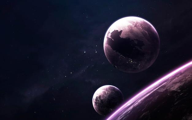 Неизведанный космос. научно-фантастические обои, планеты, звезды, галактики и туманности в потрясающем космическом изображении. элементы этого изображения, предоставленные наса