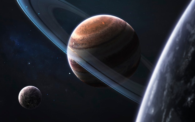 Неизведанные планеты, потрясающая научно-фантастическая иллюстрация космоса. элементы этого изображения, предоставленные наса
