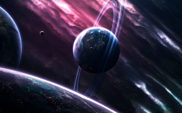 Unexplored planets of faraway space. deep space image, science fiction fantasy in high resolution ideal for wallpaper and print. elements of this image furnished by nasa