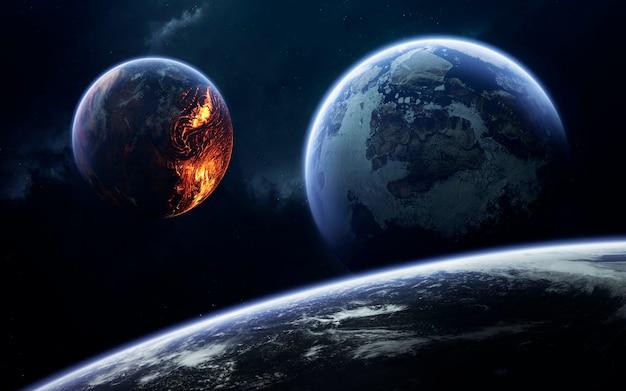 Неизведанные планеты далекого космоса. изображение глубокого космоса, фантастическая фантастика в высоком разрешении идеально подходит для обоев и печати. элементы этого изображения, предоставленные наса