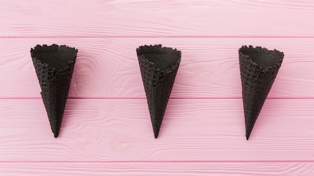 Unfilled charcoal waffle cones