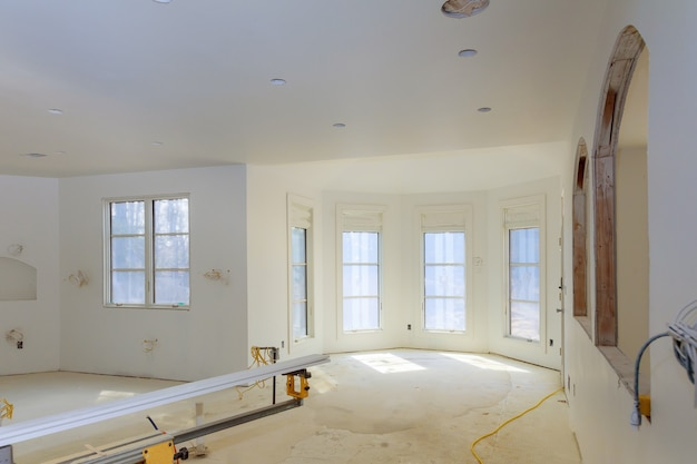 Unfinished apartment interior sheetrock in new home construction