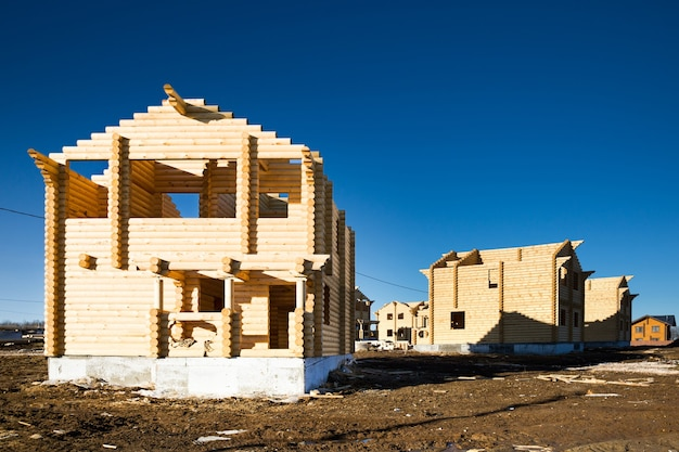 미완성 된 생태 목조 주택 및 건축 면적