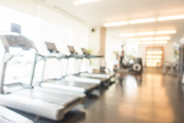 Unfocused background of treadmills