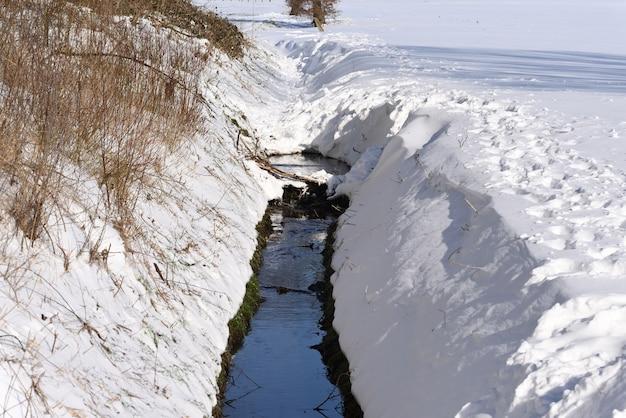 눈 덮인 채널을 따라 흐르는 물이 얼지 않은 겨울 개울.