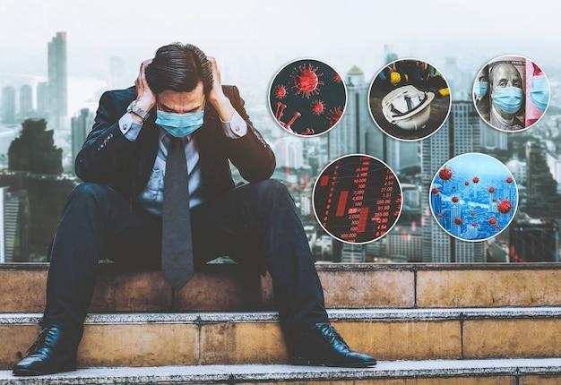 Эффект недовольного бизнесмена из-за коронавируса covid-19 вызвал экономический кризис