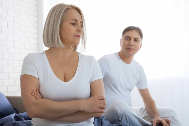Unhappy couple has problems in relationships. conflict in family concept. tired from long relationship. difficulties in sex.