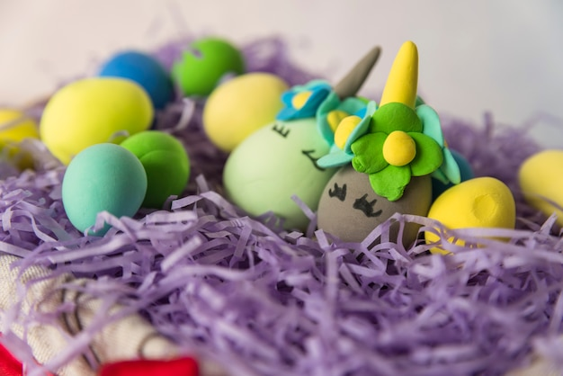 Unicorn eggs in nest