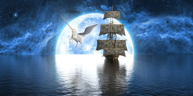 Unicorn near the ship against the background of a large full moon, 3d illustration