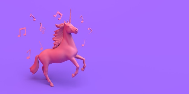 Единорог езда с музыкальными нотами. фантазия. скопируйте пространство. 3d иллюстрации.