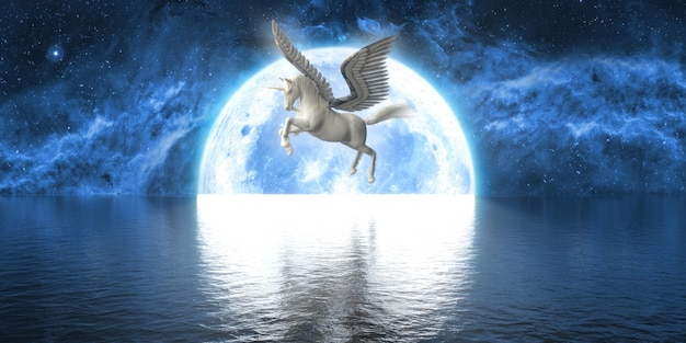 Unicorn with wings on the background of a large full moon, 3d illustration