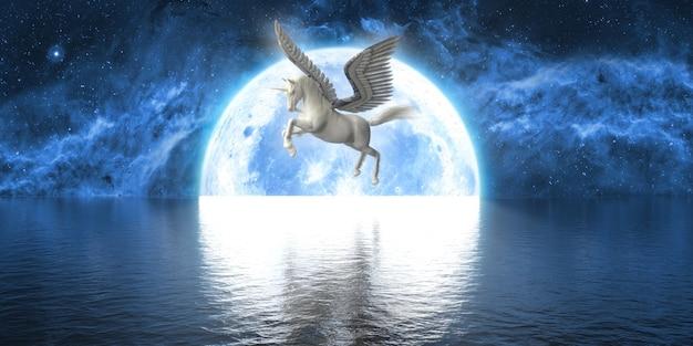 大きな満月の背景に翼を持つユニコーン、3dイラスト