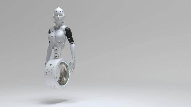 一輪車ロボットの女性