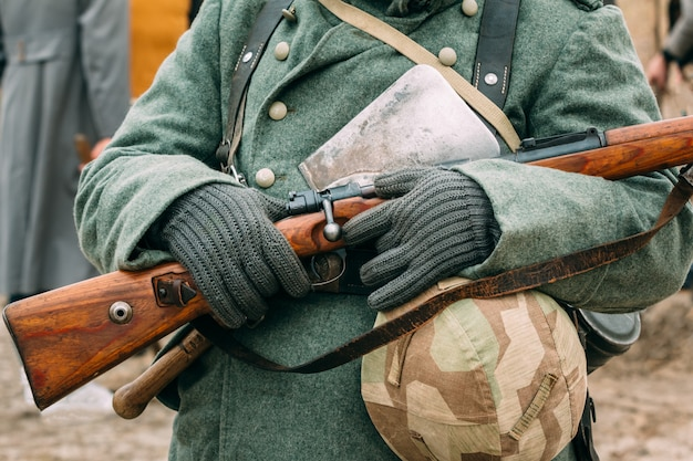 Uniforms and weapons of the nazi soldiers. reconstruction