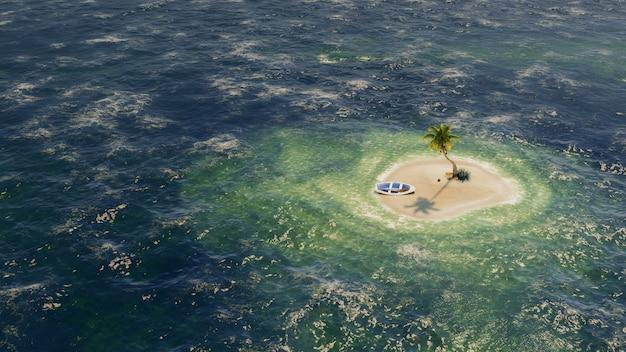 ターコイズ ブルーの浅い海にヤシの木がある無人島または無人島。 3dレンダリング