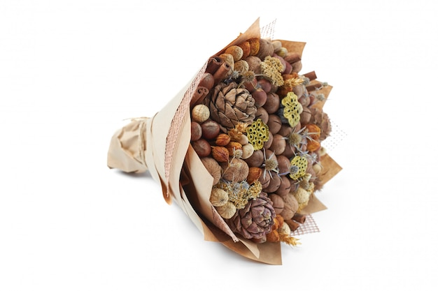 Unique bouquet of different types of nuts