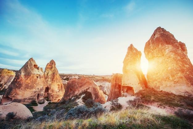 Unique geological formations in valley in cappadocia