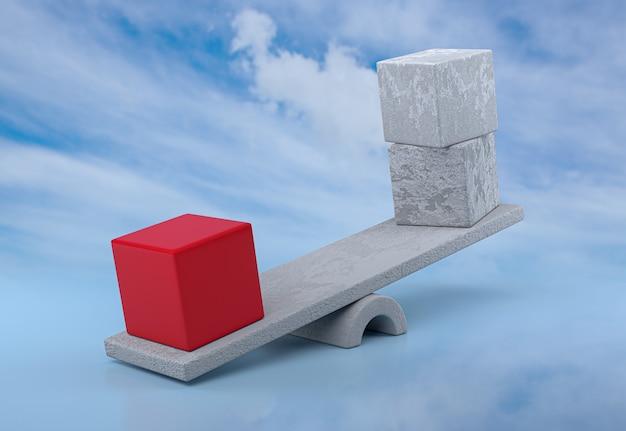 독창성, 균형, 리더십 및 경쟁 개념. 3d 렌더링