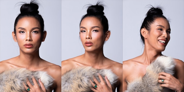 남여 공용 트랜스젠더 모델 패션 젊은 아시아 여성 얇은 검은 머리 아름다운 메이크업 패션은 추운 날씨로 폭스 트레일을 개최했습니다. 스튜디오 조명 흰색 배경, 콜라주 그룹 팩