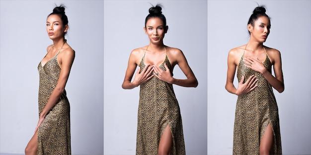 남여 공용 트랜스젠더 모델 패션 젊은 아시아 여성 얇은 검은 머리가 아름다운 메이크업 패션은 호랑이 피부 패턴으로 잠옷을 입습니다. 스튜디오 조명 흰색 배경, 콜라주 그룹 팩
